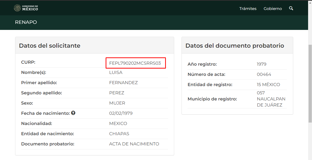 CURP certificado